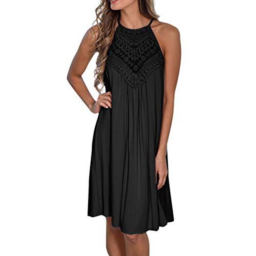 XuxMim Frauen-beiläufige Feste gekräuselte Taschen O-Ansatz verschieben tägliche geknöpfte Kleider(Schwarz,XX-Large)