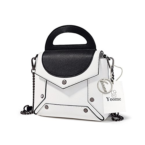 Yoome Punk Style Borsa a contrasto Colore Ribattini Crossbody Chain Top Handle Handbags Vintage - Bianco bianca