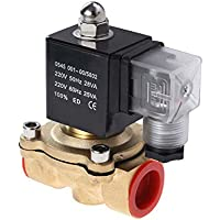 ounona AC 220V 3/10,2cm Messing Elektrisches Magnetventil Handeln Normalerweise geschlossen Magnetventil für Air Gas Wasser (Golden)