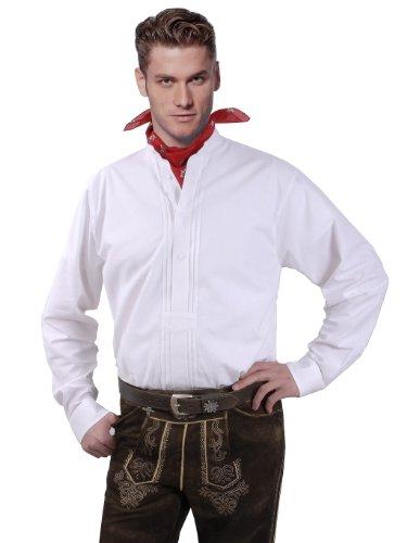 Top-Quality - Trachtenhemd Herren Langarm/Kurzarm - mit Stehkragen - Komfort Reine Baumwolle - Stehkragenhemd Weiß