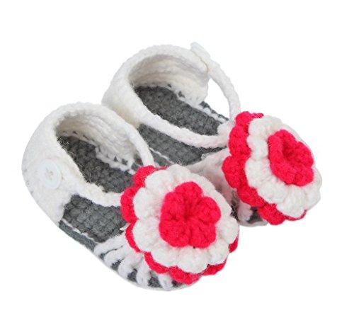 Bigood(TM) 1 Paar Strick Schuh Baby Unisex Strickschuh One Size süße Muster 11cm lilienweiss Blume Grau AB xHOG2dWA