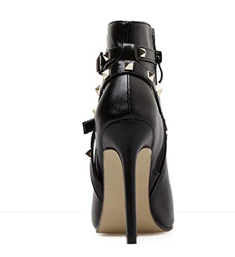Lady Sandals Punk Chaussures 2018 Printemps Eté Nouveau Rivet Tacchi Alti Tutti Abbinati Noir