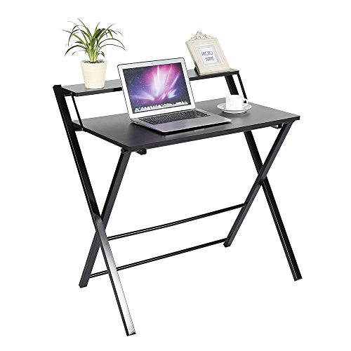 Mesa de escritorio plegable con 2niveles, estación de trabajo para ordenador portátil, oficina, estudiantes, con balda expositora para libros u objetos de decoración, color negro