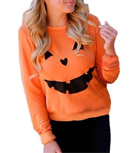 AILIENT Femme Col Rond Manches Longues Shirt Tops Casual Chemisier Classique Halloween Blouses Imprime Cute T-shirt Sweat-Shirts Orange