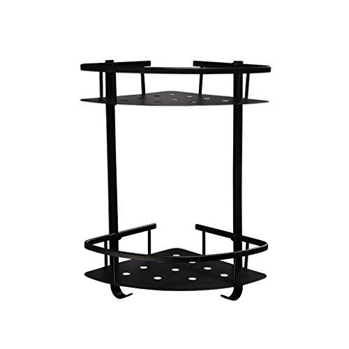 MyYztsj-bathroom shelf Nordic Einfache Vintage Black 304 Edelstahl Bad Regal mit Haken Wc Dreieck...