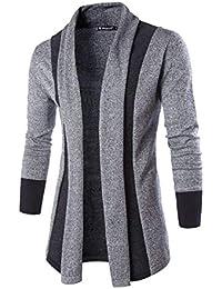 PAUSE Silver Solid Lapel Collar Slim Fit Full Sleeve Men's Cardigan
