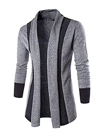 PAUSE Silver Solid Lapel Collar Slim Fit Full Sleeve Men's Cardigan