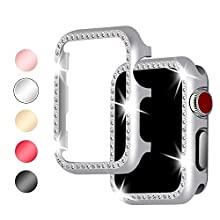 Myada Compatible with Apple Watch Case 38mm Women iWatch Series 3/2/1 Case Rhinestones Diamonds Sparkly Crystal Bling Glitter Frame Cover Shell Bumper Protective Case for Apple Watch Series 3/2/1 38mm