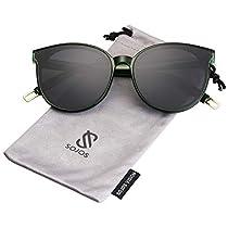 dc87b055010192 SOJOS Runde Sonnenbrille Damen UV-Schutz Groß Fashion Design SJ2057 mit  Klar Grün Rahmen/