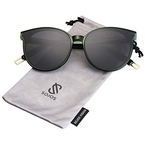 SOJOS Runde Sonnenbrille Damen UV-Schutz Groß Fashion Design SJ2057 mit Klar Grün Rahmen/Grau Linse