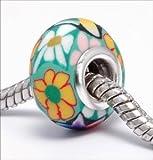 Endearing Charms versilbert grün Blumenmuster Fimo Charm für Pandora/Troll Charm-Armbänder Halsketten