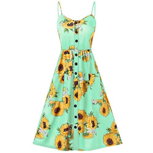(Women Sexy Sunflower Printing Pocket Button Off Shoulder Sleeveless Dress, Spring Sale)