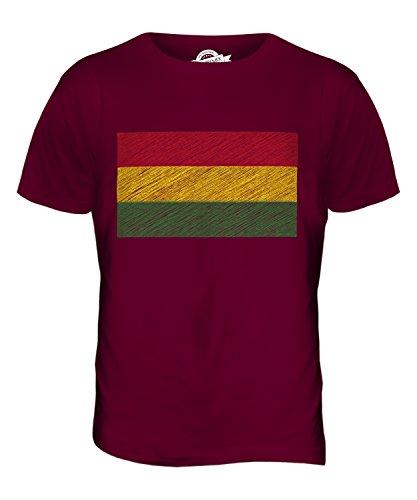 CandyMix Bolivien Kritzelte Flagge Herren T Shirt Burgunderrot