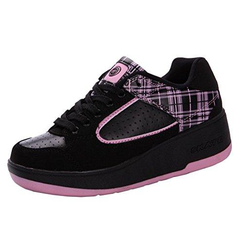 KE Unisexe Lumière respirante Furtif Bouton automatique Poulie Chaussures Patins Chaussures de sport pink