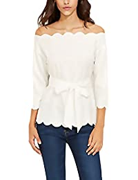 Camisas Mujer Manga Larga Blancas Fiesta Tops Barco Cuello Sin Tirantes Elegante Office Wear Cinturón Primavera Otoño T-Shirt Blusa Con…