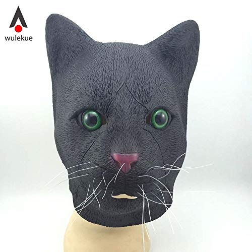 HITSAN INCORPORATION WULEKUE Halloween Mask Full Face of Cat Head Wigs Masquerade Props Cute Costume Decoration Carnival Party Accessories