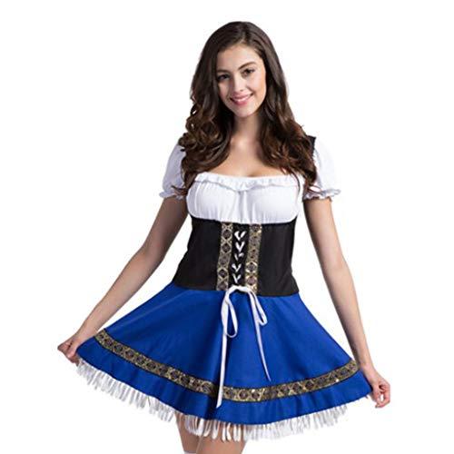 Charming House Damen Bundesbayerisches Kostüm Oktoberfest Bier Mädchen Kleid Karneval Halloween Blau Weiß - Blau - (Deutsch Bier Mädchen Kostüm)