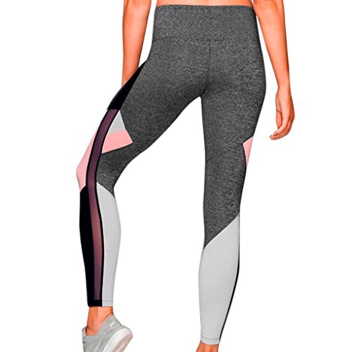 Womens Sport Yoga Pants High Waist - Color Mosaic Yarn Gym Athletic Trouser - Power Stretch Workout Tights Gym Yoga Running Fitness Leggings Pants Athletic Trouser (M, Gray)