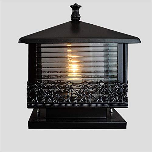 YAMEIJIA Schwarz Bronze Vintage Säule Licht Gartentor Post Lampe Glas Laterne Outdoor Patio Hof Landschaft Beleuchtung Nachtlampe,Black -