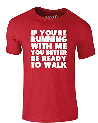 Brand88 - Be Ready to Walk, Erwachsene Gedrucktes T-Shirt Rote/Weiß