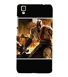 For Vivo V3Max dangerous man, man, man with sword, fire Designer Printed High Quality Smooth Matte Protective Mobile Case Back Pouch Cover by APEX
