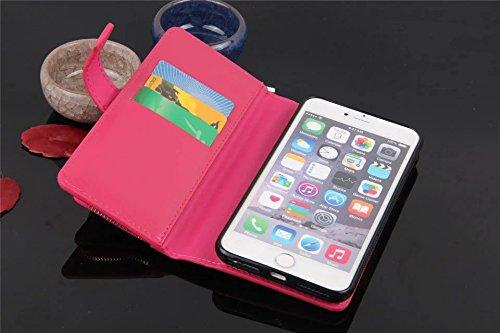Hülle für iPhone 7 plus , Schutzhülle Für IPhone 7 Plus, große Menge Solid Color Leder Tasche Tasche mit Reißverschluss mit abnehmbarer Rückenabdeckung ,hülle für iPhone 7 plus , case for iphone 7 plu Pink