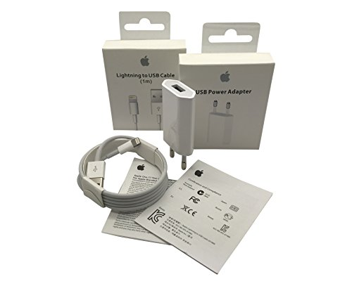 Original Apple MD818ZM/A 1m Lightning Kabel und Apple MD813ZM/A A1400 5W USB Power Adapter