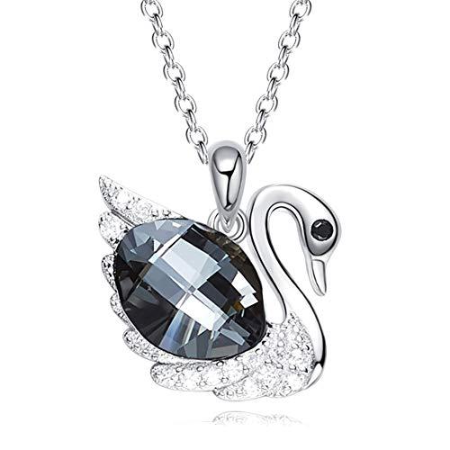 XINGYU Damen Halskette mit Schwan Anhänger 925 Sterling Silber Kette Kristalle Zirkonia für Frauen Modeschmuck mit Geschenkbox, Silver