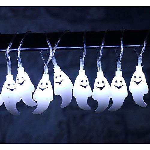 Lichterkette FeiliandaJJ 2M 20LED IP65 Wasserdicht 8 Modi Halloween Gespenst LED Licht Hochzeit Party Halloween Innen/Außen Haus Deko String Lights mit Fernbedienung (Weiß)