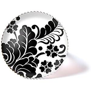 Ring mit Cabochon, Blume und Blätter