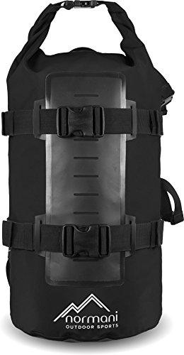Rucksack Wasserdichter Trekking-Rucksack aus LKW-Plane, 40 Liter Schwarz