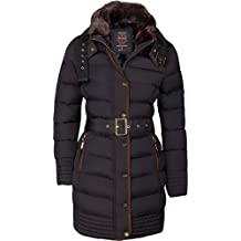 Abrigo de plumón tipo parka de mujer forrado, cuello con pelo cerrado, largo, con capucha