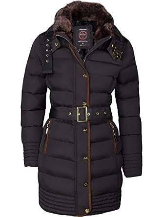 Alaska, Piumino invernale da donna, parka, Cappotto foderato, Giacca trapuntata, cappuccio con Collo di pelliccia, Lungo  nero s