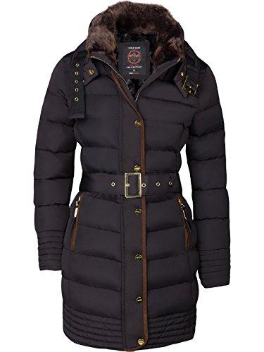 Donna colletto giacca Parka in piumino cappotto imbottito invernale pelliccia cappuccio trapunta di Alaska nero m