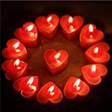 Festiko Red Heart-Shaped Tealight Candles for Valentines Day Room Decoration/Marriage Proposal (Pack of 10)