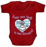 ShirtStreet Gaudi Wiesn Strampler Bio Baumwoll Baby Body Kurzarm Jungen Mädchen Oktoberfest - Wo zum Deifi is MEI Dirndl 2, Größe: 0-3 Monate,Red