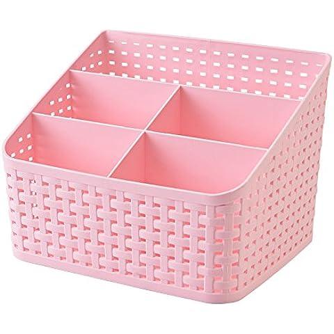 Fanmeili SN2245 Desktop Organizer Scrivania contenitore di immagazzinaggio, Rosa