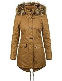f49318fae770 Desires Bea Manteau d hiver À Capuche avec Peau De Mouton Parka d hiver  Veste Longue pour Femme Doublure…