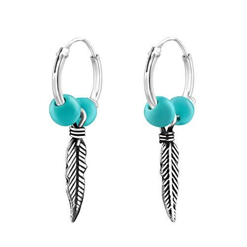 Tata Gisèle © Pendientes Colgantes de Plata 925/000 rodiada - Pendientes de aro con Pluma de Plata y Perlas de imitación Turquesa - 25 mm