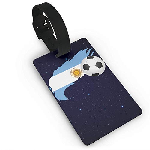 Soccer Ball with Argentina Flag Luggage Tag Travel ID Bag Tag