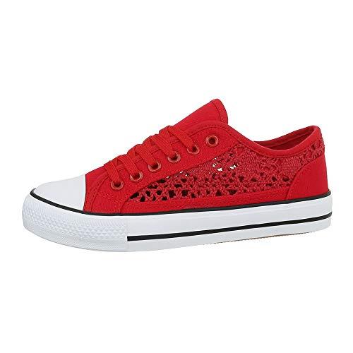 Ital-Design Damenschuhe Freizeitschuhe Sneakers Low Canvas Rot Gr. 41