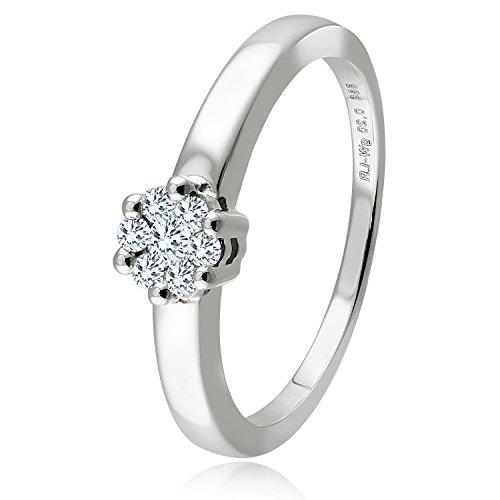 Diamond Line Diamant-Ring Damen 585 Weißgold mit 7 Brillianten 0.20 ct. Lupenrein