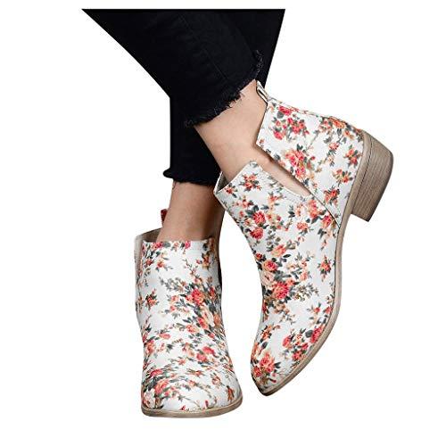 Damen Leder Stiefeletten,Frau Bunte Blumen Dicker Absatz Kurze Stiefel Warme Elegante Blume Gemütliche Chunky Zipper Mode Stiefel Herbst Winter