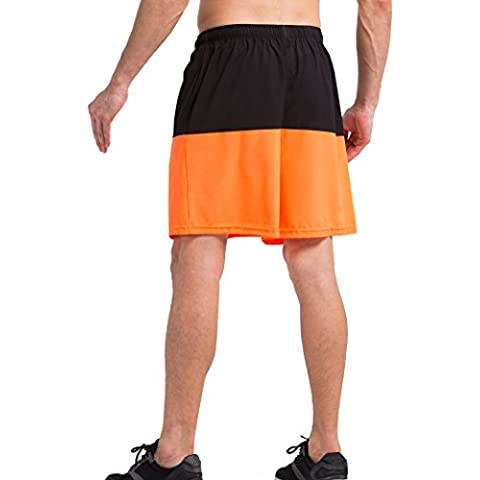 Vansydical Shorts compressione coperta all'aperto Sport uomo allenamento palestra pallacanestro pantaloni Casual in tessuto sciolto pantaloni medi (nero arancione, XXL)