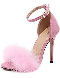 GLTER Mujeres Bombas Tacones Abiertos Plumas Sandalias de tacón alto Zapatos huecos de felpa Zapatos de corte , pink , 40