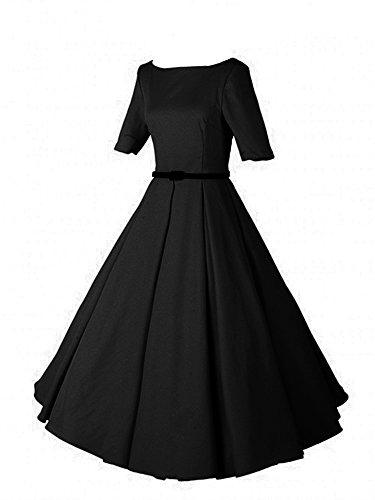 LUOUSE Audrey Hepburn 1/2 Sleeve 1950er Vintage Rockabilly Kleid,Black,S