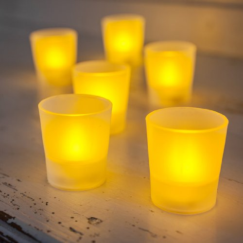 Lot de 6 Bougies Photophores LED à Piles avec Flamme Ambre Vacillante par Lights4fun