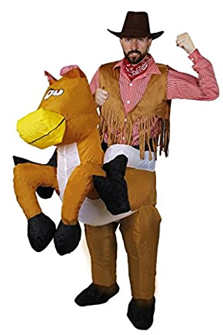 MENS COWBOY FANCY DRESS COSTUME - ADULTS COWBOY RIDING HORSE COSTUME - RED CHEQUERED SHIRT, RED PAISLEY PRINT BANDANA, LEATHER LOOK WAISTCOAT, BLACK FAUX SUEDE COWBOY HAT PLUS INFLATABLE HORSE TROUSERS WESTERN THEMED FANCY DRESS - AVAILABLE IN 5 SIZES (XX-LARGE)
