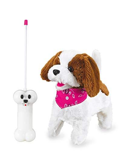 Jamara -Lucky RC Plüschhund 27MHz- Weiches Fell, bewegt die Schnauze und Kopf, wedelt mit dem Schwanz, realistisches Hundebellen, Weiß-Braun -