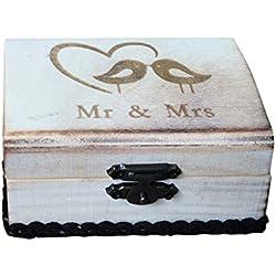 Caja de Madera de Anillos de Novios Mr y Mrs con pájaros